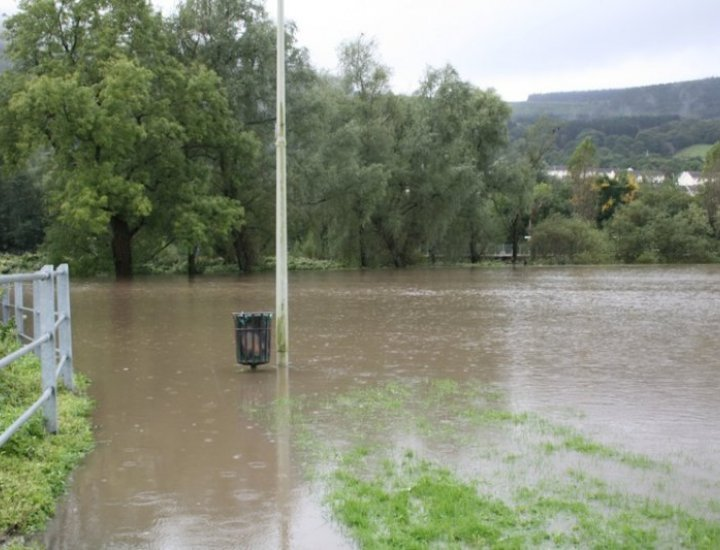 River Cynon 25 meters from site of new hospital Mountain Ash