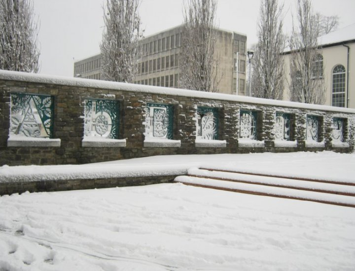 Aberdare Sign in the Snow Outside the Library