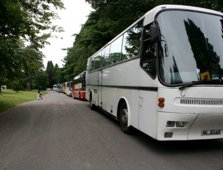 Buses parked in Aberdare Park as part of Aberdare Carnival 2009