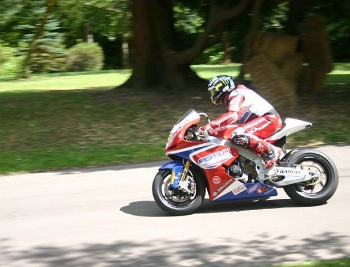 23 times TT winner John McGuinness demonstrating the ex-Paul Bird Racing MotoGP bike, Aberdare Park