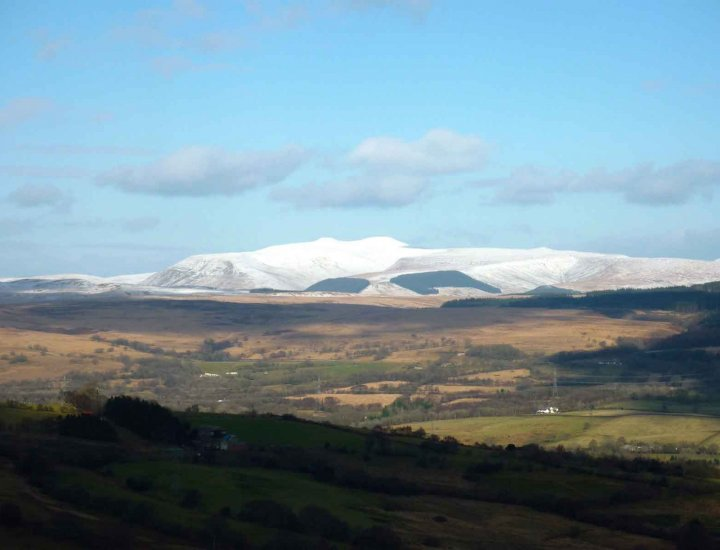Snow covered Brecon Beacons National Park from Aberdare