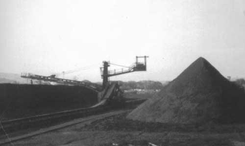 The coal stacker, photograph taken from the control cabin